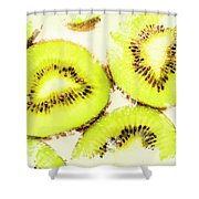 Close Up Of Kiwi Slices Shower Curtain