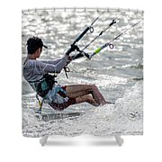 Close-up Of Male Kite Surfer In Cap Shower Curtain