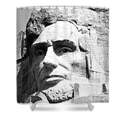 Close Up Of President Abraham Lincoln On Mount Rushmore South Dakota Black And White Shower Curtain