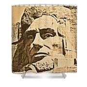 Close Up Of President Abraham Lincoln On Mount Rushmore South Dakota Rustic Digital Art Shower Curtain