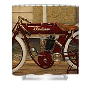 close up of red Indian motorcycle   # Shower Curtain