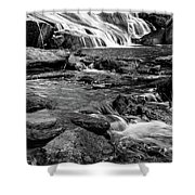 Close Up Of Reedy Falls In South Carolina B W Shower Curtain