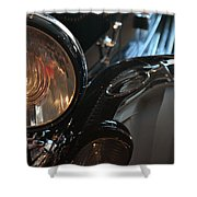Close Up On Black Shining Car Round Light Shower Curtain
