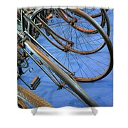 Close Up On Many Wheels From Bicycles  Shower Curtain