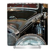 Close Up On Vintage Black Shining Car Shower Curtain