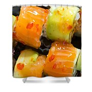 Close Up Sushi In Plate Shower Curtain by Deyan Georgiev