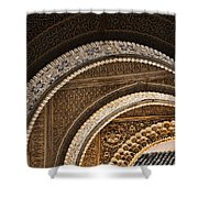 Close-up View Of Moorish Arches In The Alhambra Palace In Granad Shower Curtain by David Smith