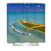 Close-up Yellow Canoe Shower Curtain by Dana Edmunds - Printscapes