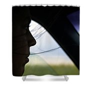 Close View Of A Woman Driving A Car Shower Curtain