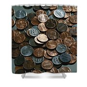 Close View Of United States Coins Shower Curtain