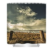 Closed Gates And Open Paddocks Shower Curtain