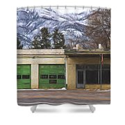 Closed Service Station Painterly Impressions Shower Curtain