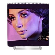 Closeup Beauty Portrait Of Woman Face In Colored Purple Light Shower Curtain