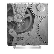 Closeup Macro Of Clock Mechanism Shower Curtain