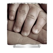 Closeup Of A Baby's Hand Shower Curtain