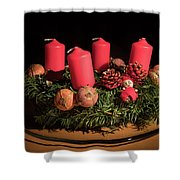 Closeup Of An Advent Wreath, Unlit Candles Shower Curtain