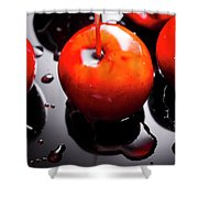 Closeup Of Red Candy Apple On Stick Shower Curtain
