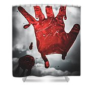 Closeup Of Scary Bloody Hand Print On Glass Shower Curtain