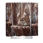 Closeup Of Terracotta Water Fountain In Full Color La Quinta Art District Photograph Shower Curtain