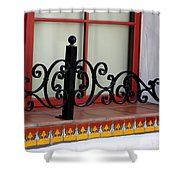 Closeup Of Window Decorated With Terracotta Tiles And Wrought Iron Photograph By Colleen Shower Curtain