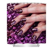 Closeup Of Woman Hands With Purple Nail Polish Shower Curtain