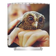 Closeup Portrait Of A Girl Holding And Tending A Small Baby Owl In Her Hands Shower Curtain