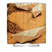 Closeup Toned Image Of Paper Boats On World Map Shower Curtain