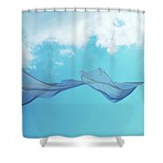 Cloth In The Wind Against The Blue Cloudy Sky. Shower Curtain