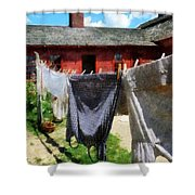 Clothes Hanging On Line Closeup Shower Curtain