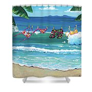 Clothesline At The Beach Shower Curtain
