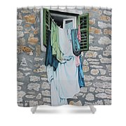 Clotheslines In Dobrovnik Shower Curtain