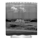 Cloud And Wave Black And White Seaside New Jersey  Shower Curtain