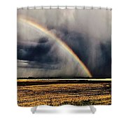 Cloud Burst And Rainbow Early Spring Storm Shower Curtain