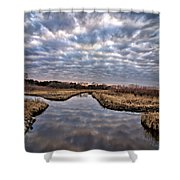 Cloud Covered River 2 Shower Curtain