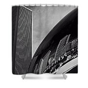 Cloud Gate And Aon Center Black And White Shower Curtain