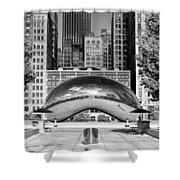 Cloud Gate Park Black And White Shower Curtain