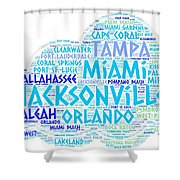 Cloud Illustrated With Cities Of Florida State Shower Curtain