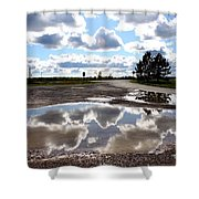 Cloud Reflection In Puddle Shower Curtain