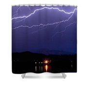 Cloud To Cloud Horizontal Lightning Shower Curtain