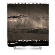 Cloud To Cloud Lightning Boulder County Colorado Bw Sepia Shower Curtain