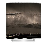 Cloud To Cloud Lightning Boulder County Colorado Sepia Color Mix Shower Curtain