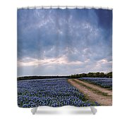 Cloud Vortex Over Bluebonnets At Muleshoe Bend Recreation Area - Spicewood Texas Hill Country Shower Curtain
