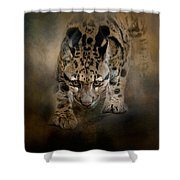 Clouded Leopard On The Hunt Shower Curtain