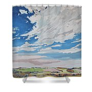 Clouded Sky On The Valley Shower Curtain