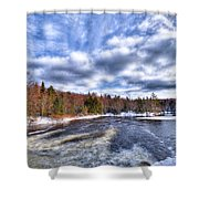 Clouds Above The Lock And Dam Shower Curtain