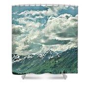 Clouds Alaska Mtns  Shower Curtain