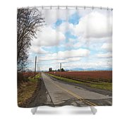 Clouds And Blueberry Bushes Shower Curtain