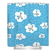 Clouds And Methane Molecules Pattern Shower Curtain