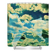 Clouds And Nyc Shower Curtain