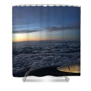 Clouds And Plane Shower Curtain